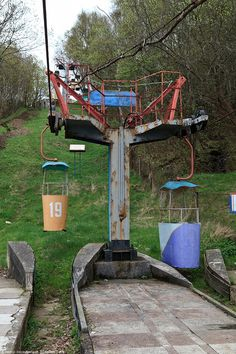 Abandoned chairlift at an old ski hill. This doesn't look very safe, but it looks cool!