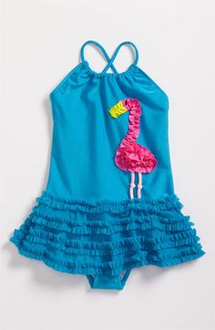 Love U Lots 'Ruffle Flamingo' Swimsuit (Toddler) Toddler Swimming, Girls Swimming, Toddler Swimsuits, Kids Outfits, Cute Outfits, Girls Bathing Suits, Swimwear Cover Ups, Summer Baby, The Beach