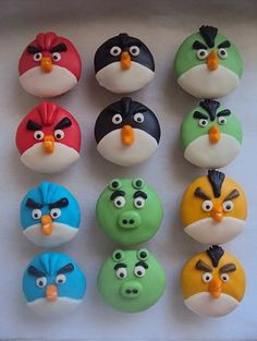 - Angry Birds Cupcakes- strawberry cake made from scratch, with buttercream icing, topped with fondant decor!