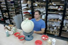 Ben Carter in his studio, located in Shanghai, People's Republic of China. Carter showed us his studio in the December 2011 Studio Visit section of Ceramics Monthly. http://ceramicartsdaily.org/ceramics-monthly/ceramics-monthly-december-2011/