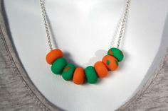 Orange and Green Polymer Clay Bead Necklace by BouzyMooseDesigns, $30.00