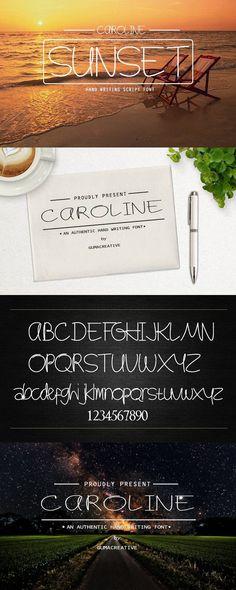 Caroline script font. Script Fonts. $10.00