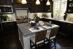 Traditional Dark Wood / Black / Espresso Kitchen Cabinets #TT35 (Kitchen-Design-Ideas.org) counter top and island