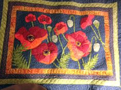 Pictures of Landscape and Art Quilts: Poppies, a Raw Edged Applique Landscape Quilt