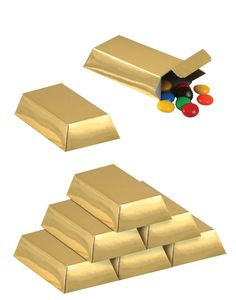 Cute gold bar boxes make cute table decor.  Fill with candy for an extra bonus!