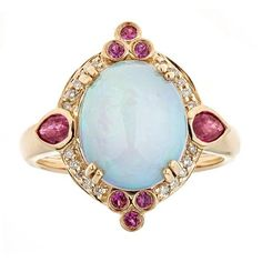 Anika and August 14k Yellow Gold Ruby, Ethiopian Opal and Diamond Accent Ring (G-H, I1-I2) (Size/7), Pink