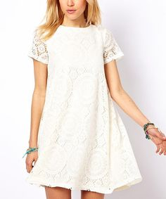 Look at this White Lace Silk Shift Dress on #zulily today!
