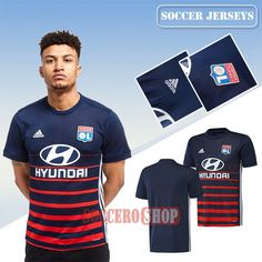 Custom Design Great Blue/Red Lyon OL Away New Soccer Jerseys With Your Name 2017 2018 Personalise