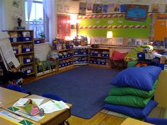 I want my classroom library to be a cozy, welcoming space. Oversized reading pillows, lamps, and inviting colors are all ideas I should work around. Classroom Layout, 5th Grade Classroom, Classroom Organisation, Classroom Setting, Classroom Design, Future Classroom, School Classroom, Classroom Management, Classroom Decor
