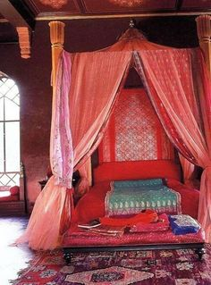 Love the drama of the drapes--accomplished here with suspended wooden rods; could do something similar on our bed (until we get a canopy frame); fru2026 & Love the drama of the drapes--accomplished here with suspended ...