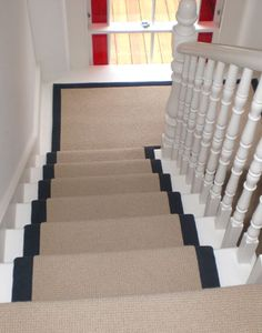 Client: Private Residence in North London. Brief: To install Wool loop pile carpet with contrasting cotton herringbone border to stairs and landings. Hallway Carpet Runners, Carpet Stairs, Stair Runners, Hall Carpet, White Banister, Carpet Fitting, Staircase Runner, Where To Buy Carpet, Stair Detail