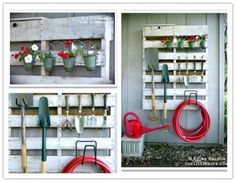 How to make a nice DIY pallet garden tool organizer step by step tutorial instructions