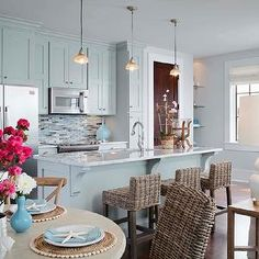 Summer House Style - kitchens - seagrass barstools, seagrass counter stools, blue cabinets, blue kitchen cabinets, blue mosaic tiles, blue m...
