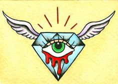 ... Diamond with Wings Mini Neo-Traditional Old School Tattoo Flash Card