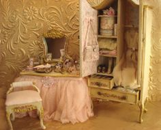 Pink Lady's Wardrobe Dollhouse Miniature