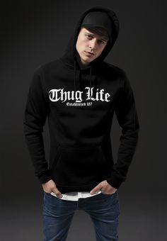 Mister Tee   Thug Life Old English Men Hoodie Shop here ➡  http://www.hoodboyz.co.uk/product/p176684_mister-tee-thug-life-old-english-men-hoodie-black.html