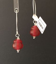 Cranberry glass lamp work beads on sterling silver ear hooks