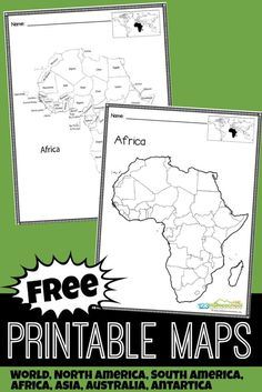 FREE Printable Maps - FREE Printable Maps – over 20 blank maps and labeled maps for kids to learn about the countries a - World Geography Map, Geography For Kids, Geography Lessons, Teaching Geography, Geography Activities, Dinosaur Activities, Free Printable World Map, Printable Maps, Free Printables