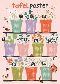 Tafel poster - Multiplication table poster by Tjarda Borsboom Now available in my Etsy shop TjardaBorsboom School Posters, Math For Kids, Preschool Activities, Illustration, Paper Crafts, Artwork, A3 Size, Digital Image, Learning Process