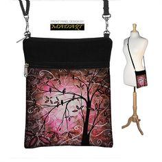 Sling Bag Shoulder Purse Cross Body Bag Small Travel Purse Zipper Fits Kindle 2 - Pink Cherry Blossoms Bird MADART