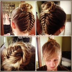 Abellasbraids shows us the wrapping a fishtail braid up the back of your head isn't good enough – you should complete the look with a tightly wound fishtail bun as well.