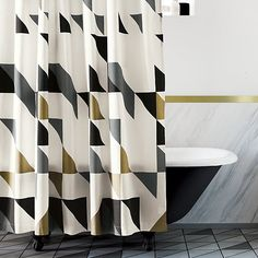 Free Shipping.  Shop triangle shower curtain.   Scattered across a clean white field of heavy-duty cotton, black, grey and metallic gold geometric forms angle this way and that in spontaneous rhythm.  Neat buttonholes top it off.