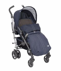 Chicco Liteway Stroller (Denim) •5 position reclining backrest •New Denim colour •One hand fold •Padded seat unit •Exclusive and Innovative shopping basket dual use basket / shoulder bag •Ergonomic handles covered with soft hand grips •Front (lockable) swivel wheels •Linked rear breaks •Suspension •Compact fold with carry handle for ease of transportation •5 point safety harness •Adjustable leg rest