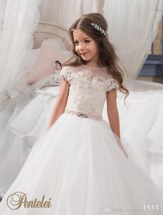 Kids Wedding Dresses with Cap Sleeves and Beaded Sash 2017 Pentelei Appliques Tulle Princess Flower Girls Gowns for Weddings
