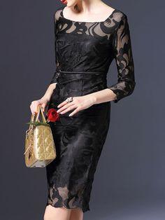 Paneled Solid Color Midi Dress