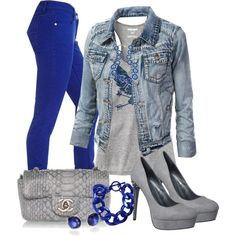 Electric Blue Jeans, cute look Blue Pants Outfit, Blue Jean Outfits, Black Dress Outfits, Fall Outfits, Casual Outfits, Cute Outfits, Outfit Work, Denim Outfit, Outfit Ideas