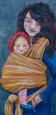 Nicki Paints: Babywearing Art - I love this gorgeous mama and baby painting! @Lena Kneuper finds some of the most beautiful babywearing art. /Colleen at WrapsodyBaby.com