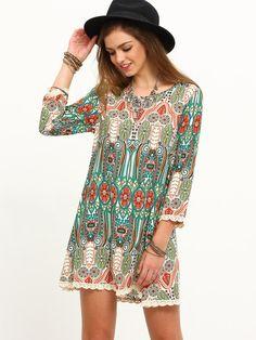 72b6a783e7 Summer Women New Multicolor Print Vintage Three Quarter Sleeve Dress