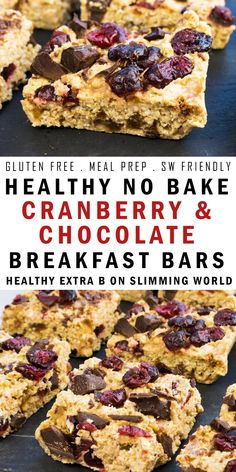 Gluten free healthy no bake breakfast bars, made with cranberries and dark chocolate and naturally sweetened with honey. Can be used as half of your Healthy Extra B on Slimming World plus syns. They perfect meal prep and Slimming World breakfast recip Breakfast Bars Healthy, Slimming World Breakfast, Breakfast Bake, Healthy Snacks, Slimming World Bars, Slimming World Flapjack, Slimming World Recipes Uk, Slimming World Meal Prep, Breakfast Ideas