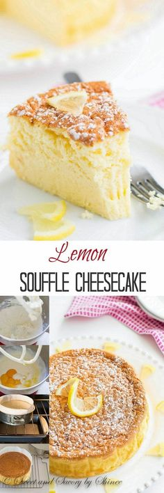 With less than 5 ingredients, this dreamy light lemon souffle cheesecake is the perfect treat to welcome long-awaited spring! Sweet & Savory by Shinee Lemon Desserts, Lemon Recipes, Just Desserts, Sweet Recipes, Delicious Desserts, Weight Watcher Desserts, Food Cakes, Cupcake Cakes, Cookie Cakes