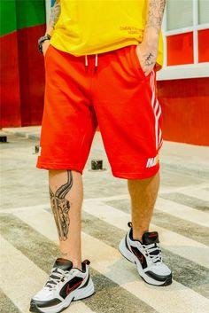11c868d885 US $14.64 39% OFF|Aliexpress.com : Buy OSCN7 Casual Streetwear Print Loose  Stripe Shorts Pants Men 2019 Summer Fashion High Street Bermuda Short Pants  Men ...