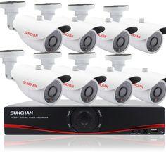 8CH Home Security System Night 1080N HDMI DVR 720P AHD Outdoor Cameras CCTV Kits #SUNCHAN
