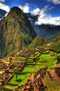 Machu Picchu. I can't wait to go here! So majestic, mysterious, and love the history of how they were such a God-fearing people.....till they were invaded and conquered.