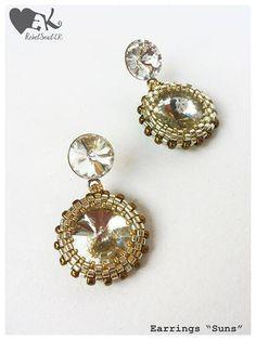 Sterling silver white swarovski crystals beadweave beadwork bridal weddings RebelSoulEK earrings