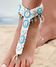 6debff59f Imitation Pearl  amp  Blue Seashell Beaded Barefoot Sandal