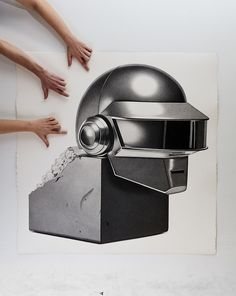 Daft Punk Helmet. Bronzed Trophy Series Drawings that look like Photographs. To see more art and information about CJ Hendry click the image.