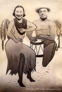 """Hula Girl and her Kane (Man)"" carnival cutout photograph, Vintage Photo Booths, Vintage Photo Album, Vintage Photographs, Vintage Photos, Face In Hole, Photo Cutout, Vintage Couples, Hula Dancers, Photo Boards"