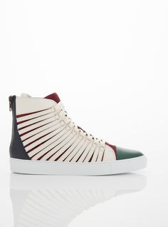 HAND CUT DUAL-LAYER CONSTRUCTION NAPA AND SUEDE HIGH TOP