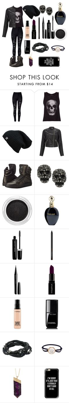 """Filha de Hades"" by biajacksonwinchester ❤ liked on Polyvore featuring WithChic, ElevenParis, Lipsy, Philipp Plein, Betsey Johnson, Clarins, Roberto Cavalli, Marc Jacobs, Smashbox and MAC Cosmetics"