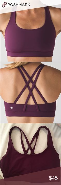 lululemon Plum Energy Bra size 6 Excellent condition! Matches boogie shorts that I have listed. Made of Luxtreme. an all-sports bra. Medium support and coverage (more than a flow y). I can send removable cup inserts if wanted!  **i have lots of lulu in sizes 4 and 6, if you're after something feel free to ask!** lululemon athletica Intimates & Sleepwear Bras