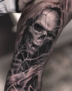 Tattoo artist Darwin Enriquez is part of Pine Tree tattoos Birds - Tattoo artist Darwin Enriquez, black&grey and color realistic tattoo USA Evil Skull Tattoo, Skull Hand Tattoo, Evil Tattoos, Skull Sleeve Tattoos, Grim Reaper Tattoo, Skull Tattoo Design, Badass Tattoos, Tattoo Sleeve Designs, Black Tattoos