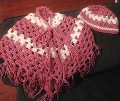 Crochet Poncho , Pink Poncho , PurplePoncho , Baby Poncho , Toddler Poncho , Little Girls Poncho , Granny Square Poncho , Crochet Hat Set $40.00