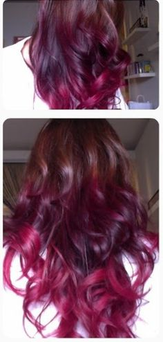Brown to purple to pinkish ombre