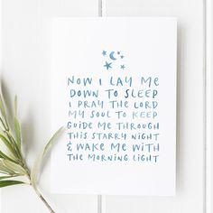 Now I lay me down to sleep - Bible verse - Blessing sign - Prayer print - Prayer sign - Bible verse Print - Bedtime Prayer - Illustration - Baby Boy - Baby Boy print - Baby Boy gift - Baby gift - Blue print- Preppy Print - Gifts for boys - Bible Verses for him