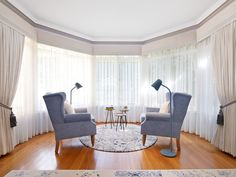 The reading nook, blue upholstered wing armchairs, custom wool round rug, northern light floor lamps Furniture Fabric, Interior Color Schemes, Interior, Exterior Decor, Floor Lamp Design, Colorful Interiors, House Interior, Living Spaces, Curtains With Blinds