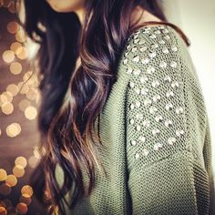 embellished evergreen sweater and gorgeous hair